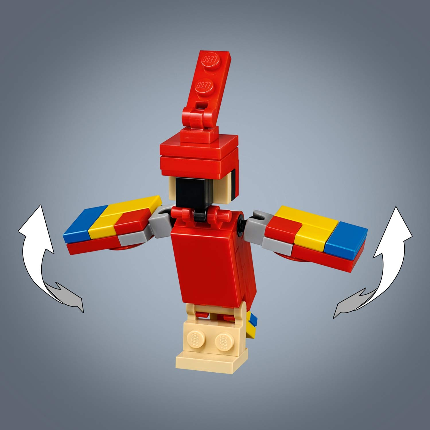 w green and yellow 1 piece Lego Parrot Figure Red