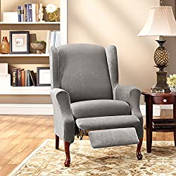 Sure Fit Stretch Pique Wing Recliner Slipcover - Flannel Gray (SF43752)