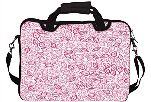 Snoogg Pink Muster Blatt 30,5cm 30,7cm 31,8cm Zoll Laptop Notebook Computer Schultertasche Messenger-Tasche Griff Tasche mit weichem Tragegriff abnehmbarer Schultergurt für Laptop Tablet PC Ultrabo