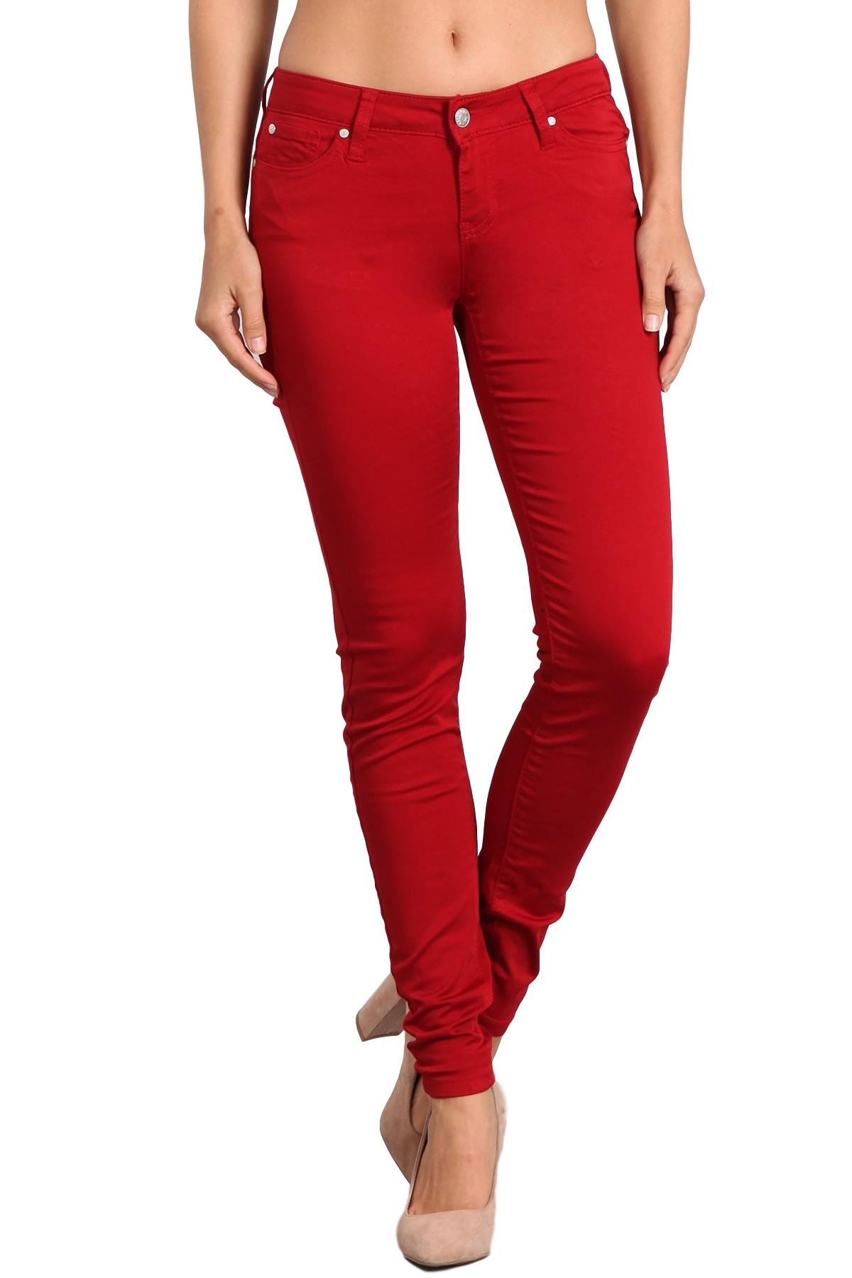 Celebrity Pink Women's Mid Rise Colored Skinny Pants CJ21038Z35 (Red Dahlia, 13/31)