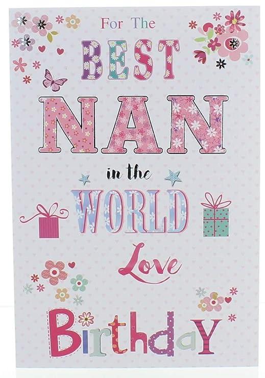 Greetings Nan Tarjeta de cumpleaños - Rubia Chica, Flores ...