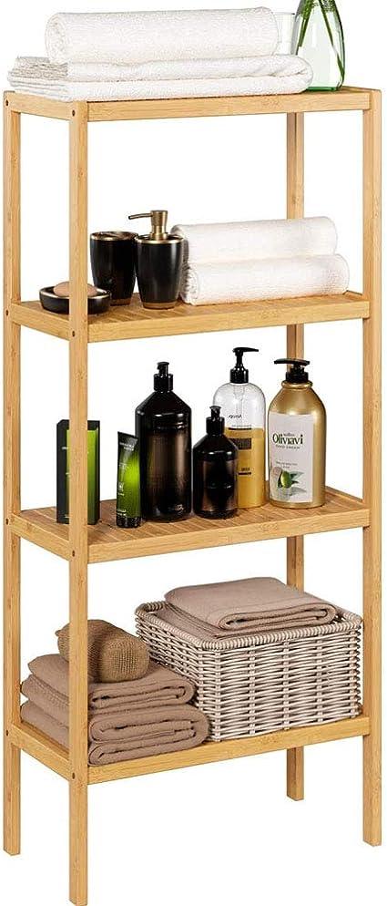 WMZQW Soporte de bambú Estantería con 4 estantes de la ...