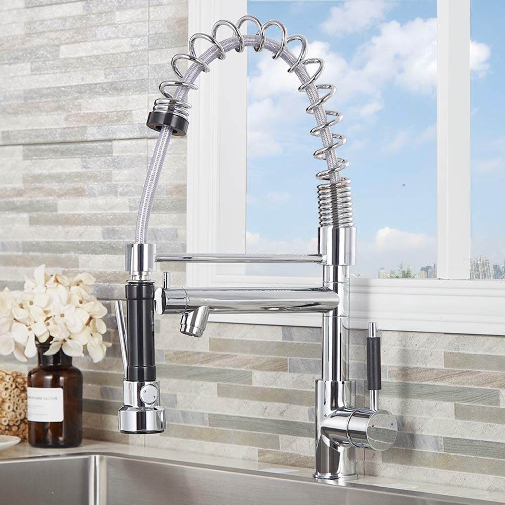 Commercial Chrome Brass 360 Degree Rotation Single Holder Single Hole Two Spouts Kitchen Tap Pull Out Pull Down Sprayer Swivel Mixer Spout Dual Sprayers Kitchen Sink Tap