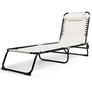 Goplus Folding Chaise Lounge Chair Portable Reclining Chair for Beach Patio Lawn Pool (Gray)