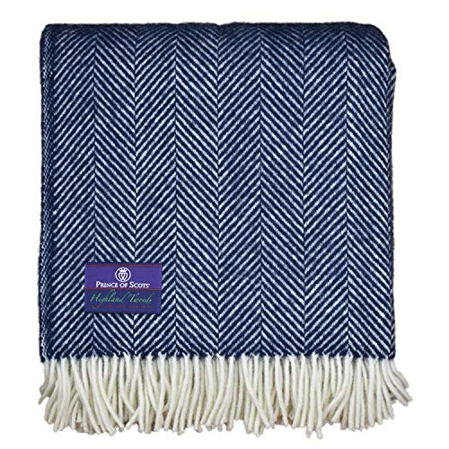 Prince of Scots Highland Tweed Herringbone 100% Pure New Wool Throw (Navy/White)