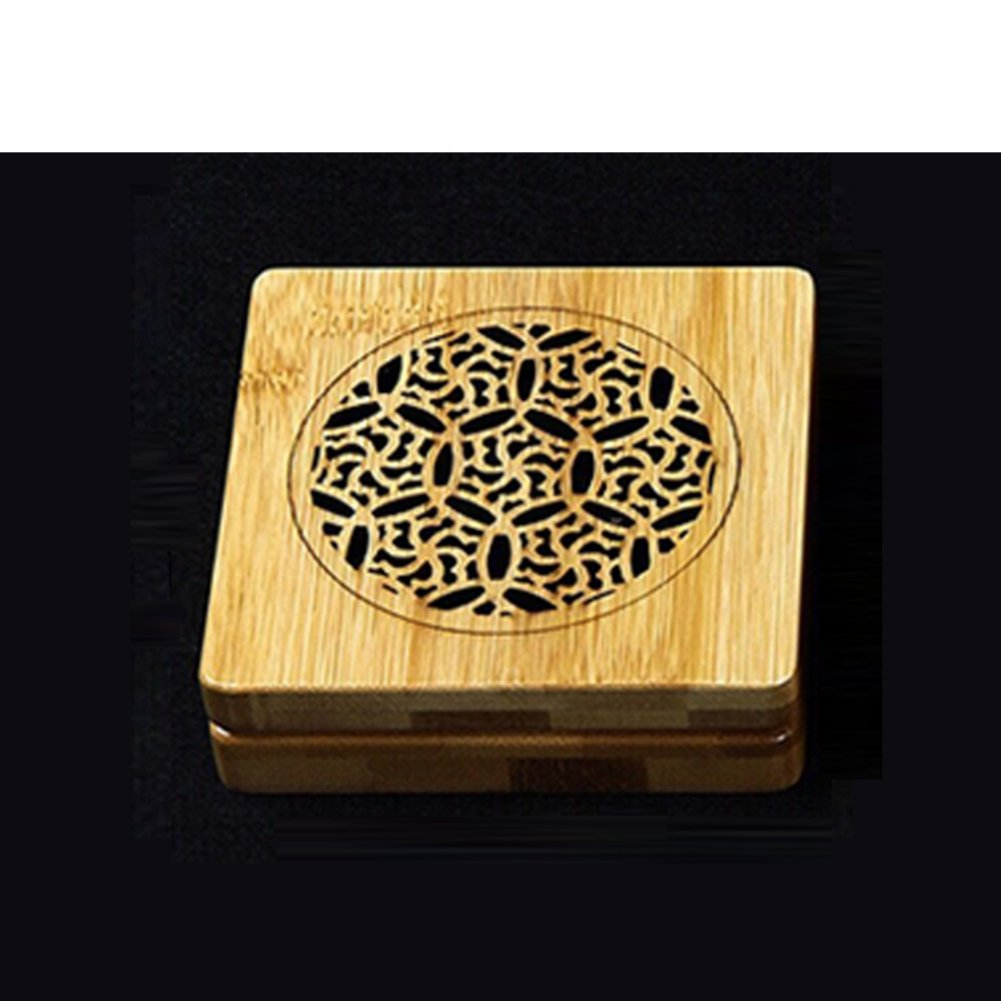 DW&HX Manual Bamboo Incense Box Restroom Hotel Aroma Stove Hollow Coil Box Send Fire-resistant Cotton-D