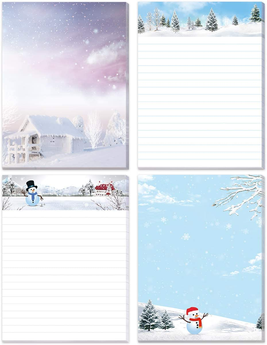 Winter Theme Notepads Holiday Notepads for Christmas Home School and Office
