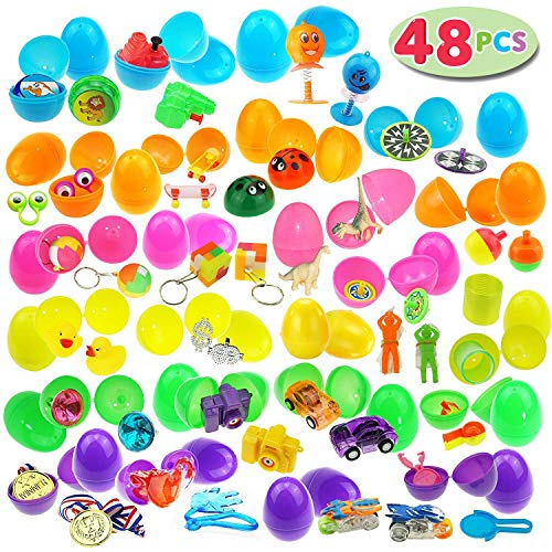 JOYIN 48 Toys Filled Easter Eggs, 2.5 Inches Bright Colorful Prefilled Plastic Easter Eggs with 24 Kinds of Popular Toys -