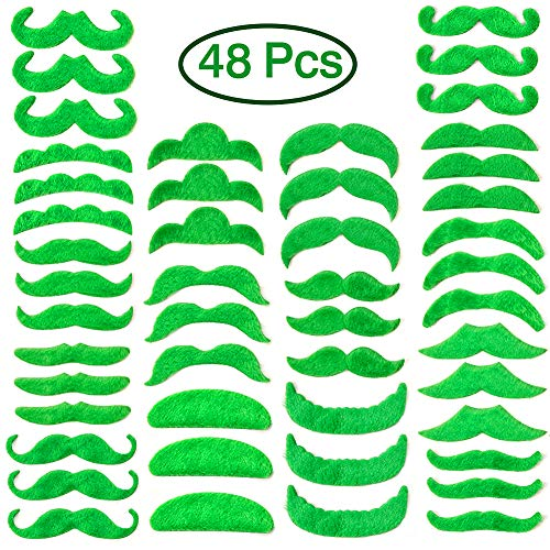 Green Mustache Beard St. Patrick's Day decorations Self Adhesive Fake Mustache Costume Party Supplies 48 Pcs