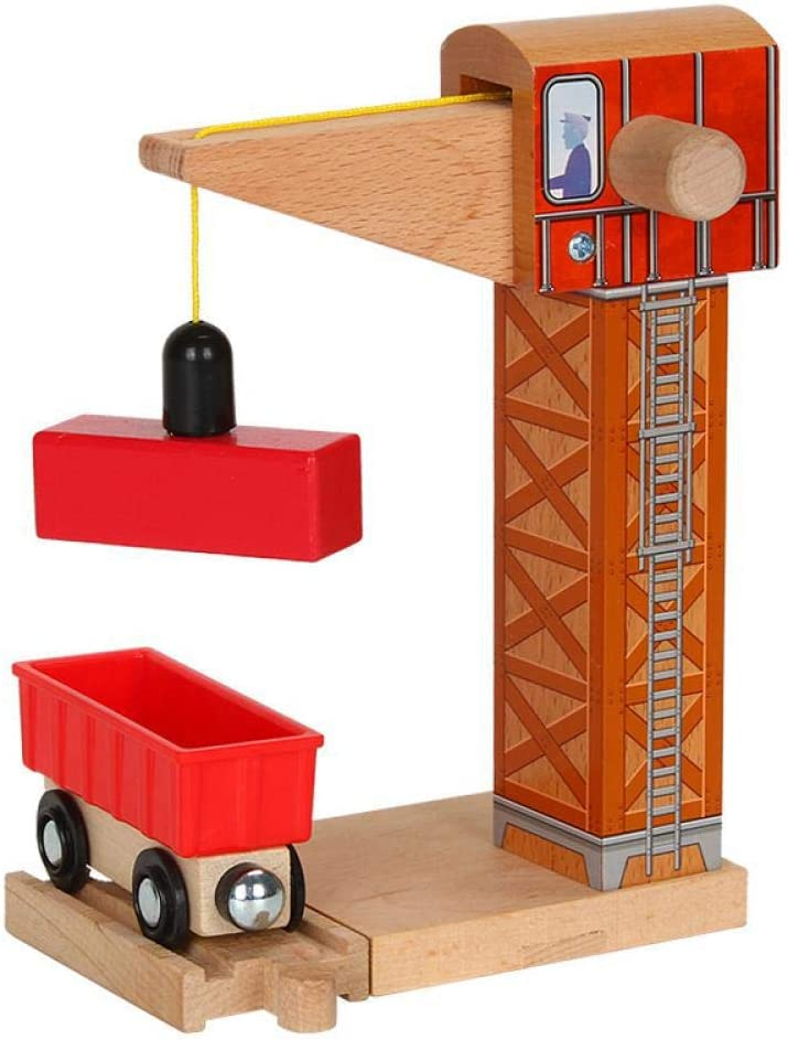 Apalldoo Wood Tower Crane Magnetic Train Beech Wooden Railway Train Track Accessories Fit for Wooden Thomas Biro Tracks E15