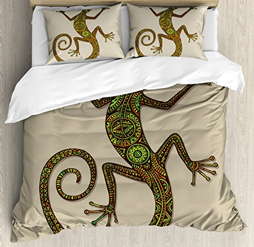 (Ambesonne Reptile Duvet Cover Set Queen Size, Ornamental Colorful Lizard with Ethnic Patterns Moving Around Exotic Creature Theme, Decorative 3 Piece Bedding Set with 2 Pillow Shams, Green)
