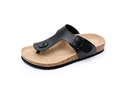 d972cb1fe999 WTW Women s Arizona Flat 2 Strap Cork Sandals Soft Suede Footbed Slides (US  6