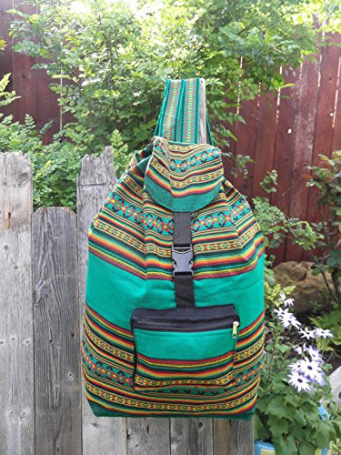 Back Pack Bohemian Tote Travel Pouch School Bag Adult Beach Sack Cotton Handmade