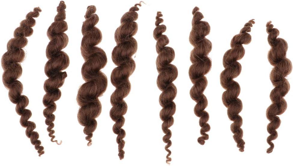 CUTICATE Brown Pure Mohair Long Curly Hair Wig for Born-Again Doll