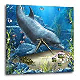 3dRose A Dolphin Swims in The ocean with Turtle Fishes and More – Wall Clock, 10 by 10-Inch (dpp_172930_1) For Sale