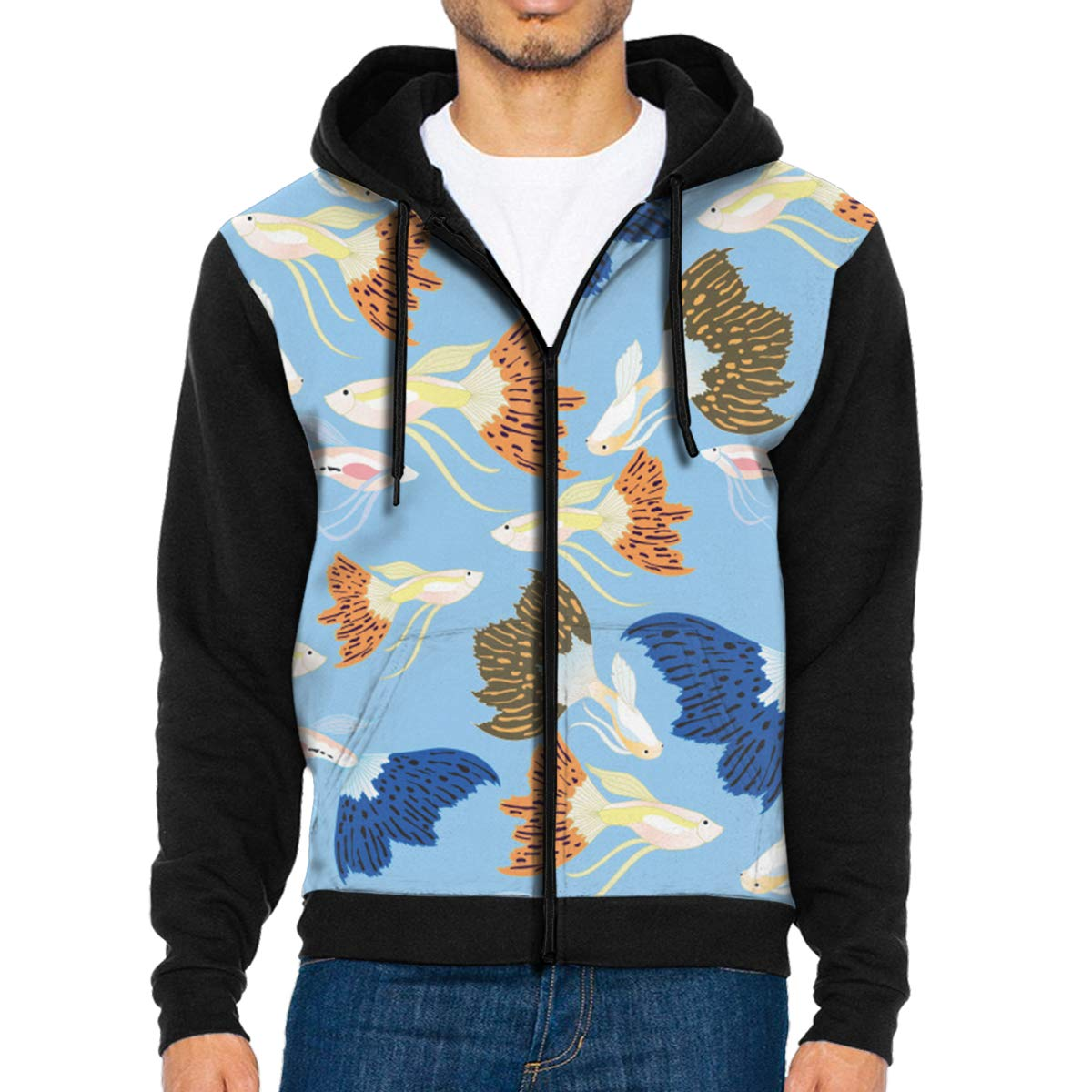 MHBGMYES Guppy Fish Pattern Lightweight Mans Jacket with Hood Long Sleeved Zippered Outwear