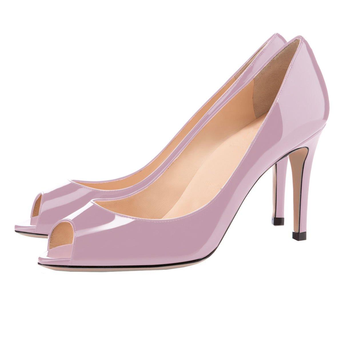 Eldof Women Peep Toe Pumps Mid-Heel Pumps Formal Wedding Bridal Classic Heel Open Toe Stiletto B07F1QNDZ9 7 B(M) US|Light Purple