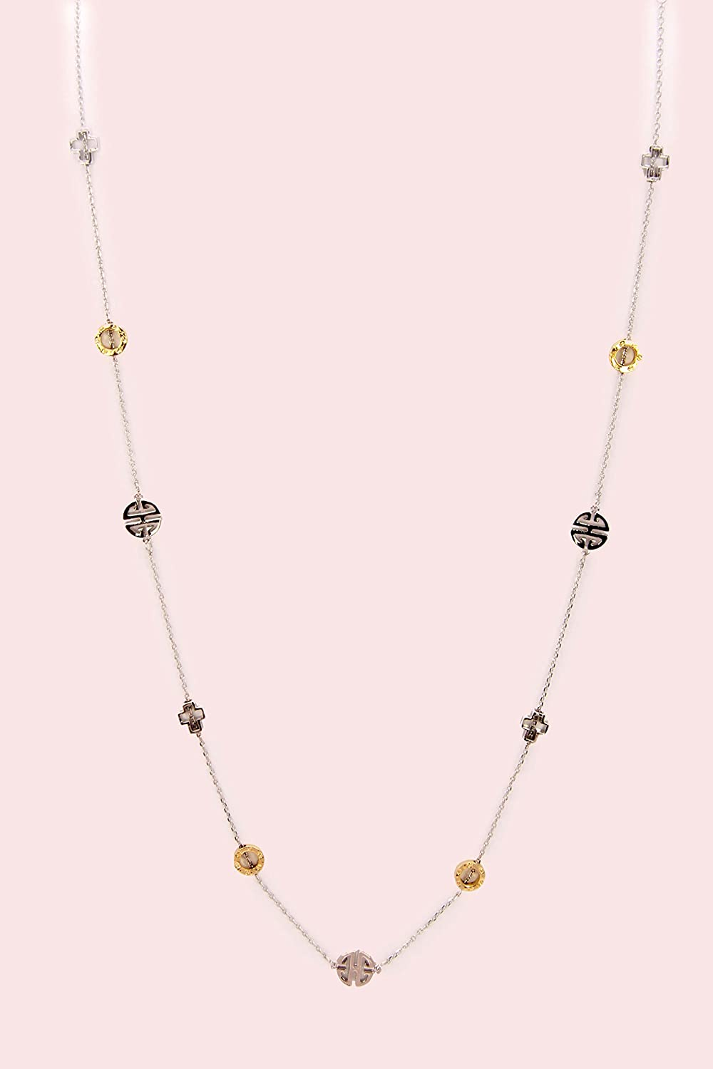 Two Tone Longevity Station Necklace 48 Inch Long