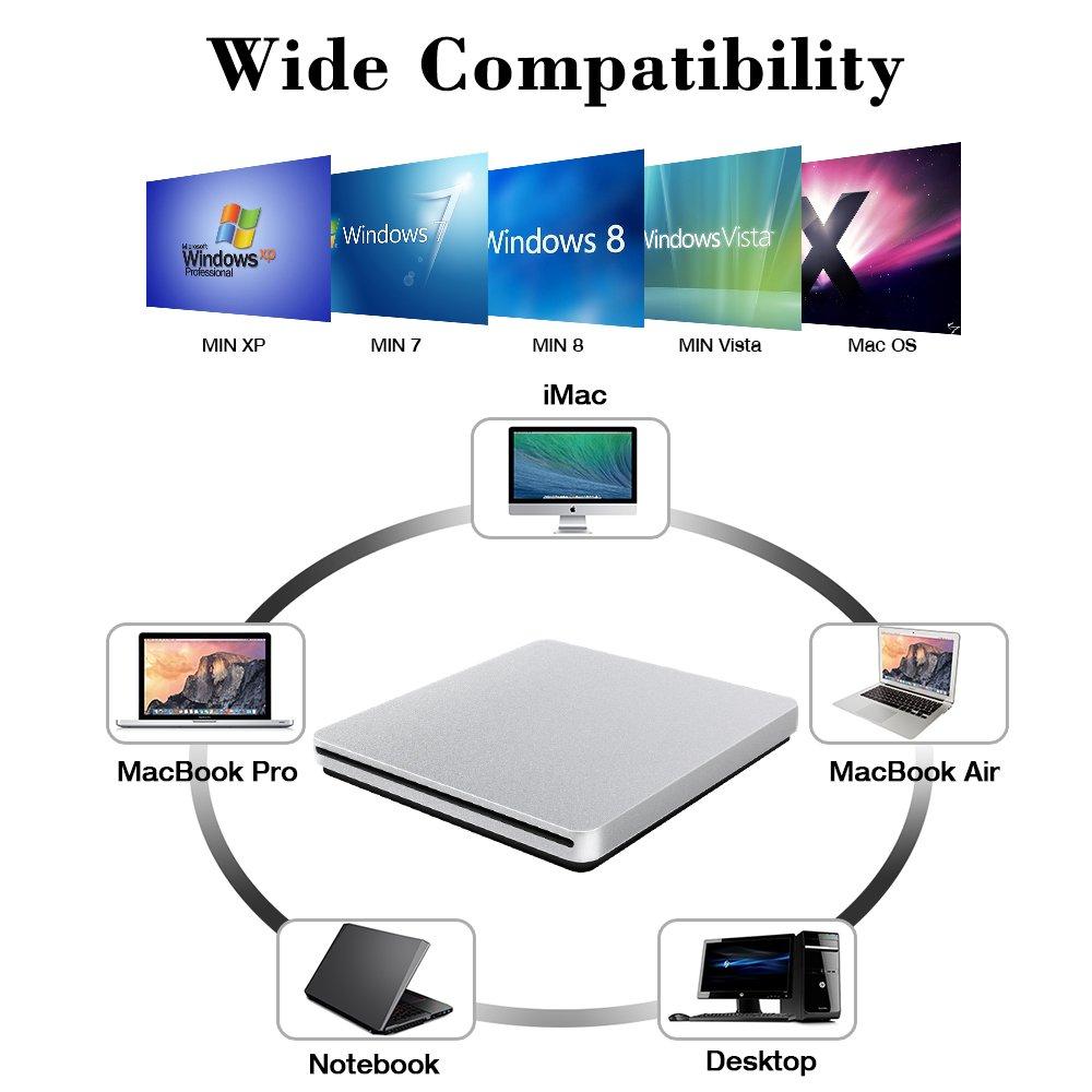 External CD DVD Drive, VersionTECH. USB Ultra-Slim Portable CD DVD RW/DVD CD ROM Burner/Writer/ Superdrive with High Speed Data Transfer for Mac MacBook Pro/Air iMac Laptop by VersionTECH. (Image #6)