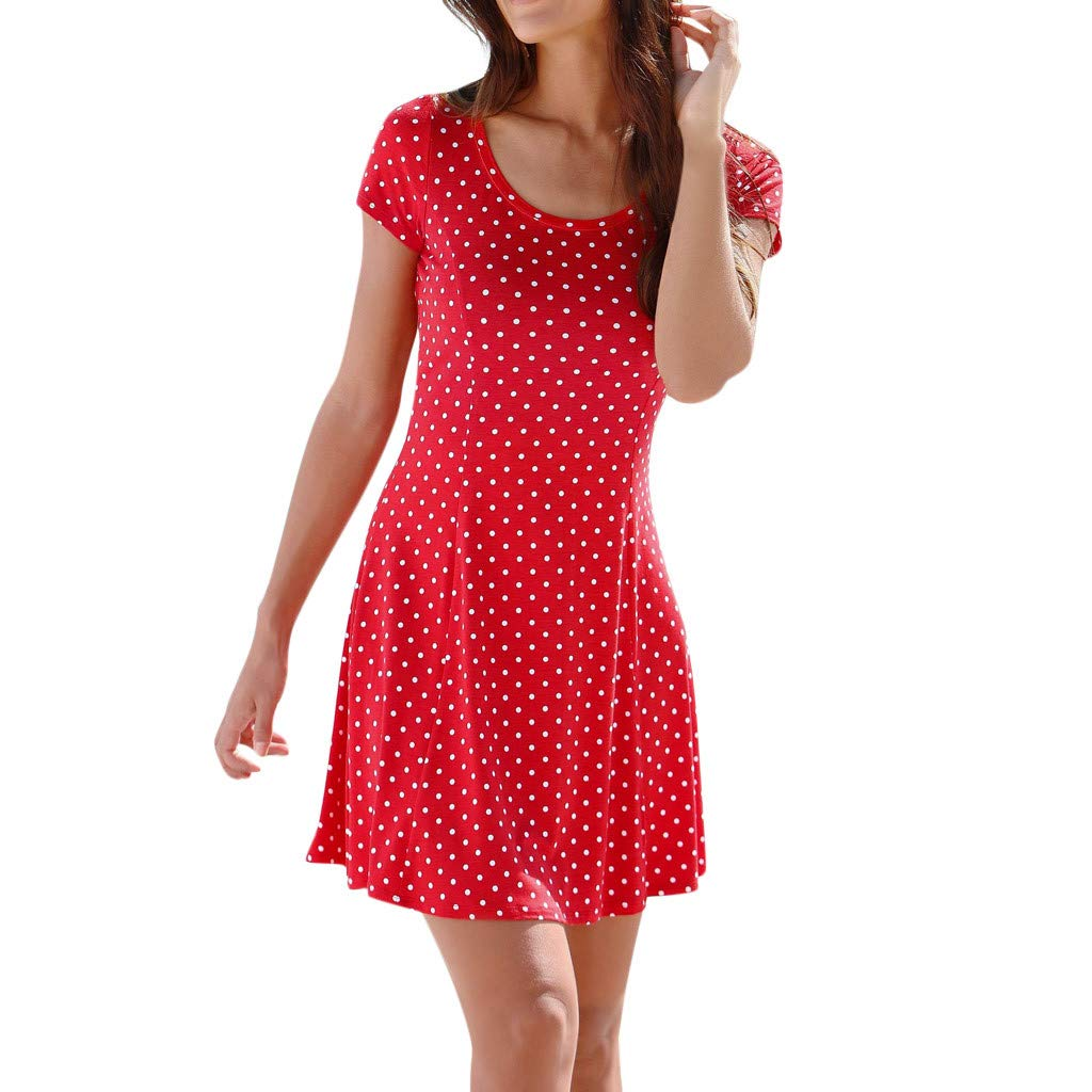Womens Casual Bohemian Short Sleeve Dot Printed Above Knee Dress Party DressGirls' Fashion by Youngh Red