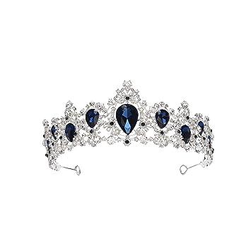 Baroque Crown Red Blue Green Crystal Bridal Tiaras Crown Vintage Gold Hair Accessories Wedding Rhinestone Diadem Pageant Crowns,Silver White
