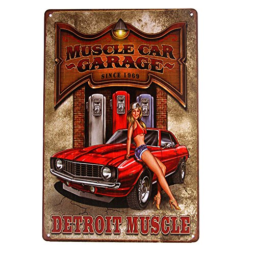 DL-Muscle CAR Garage Detroit Muscle Pin-up Girl road Tin Sign