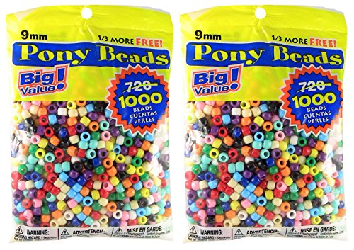 Pony Beads Multi Color 9mm 1000 ct Per Bag, 2-Pack -