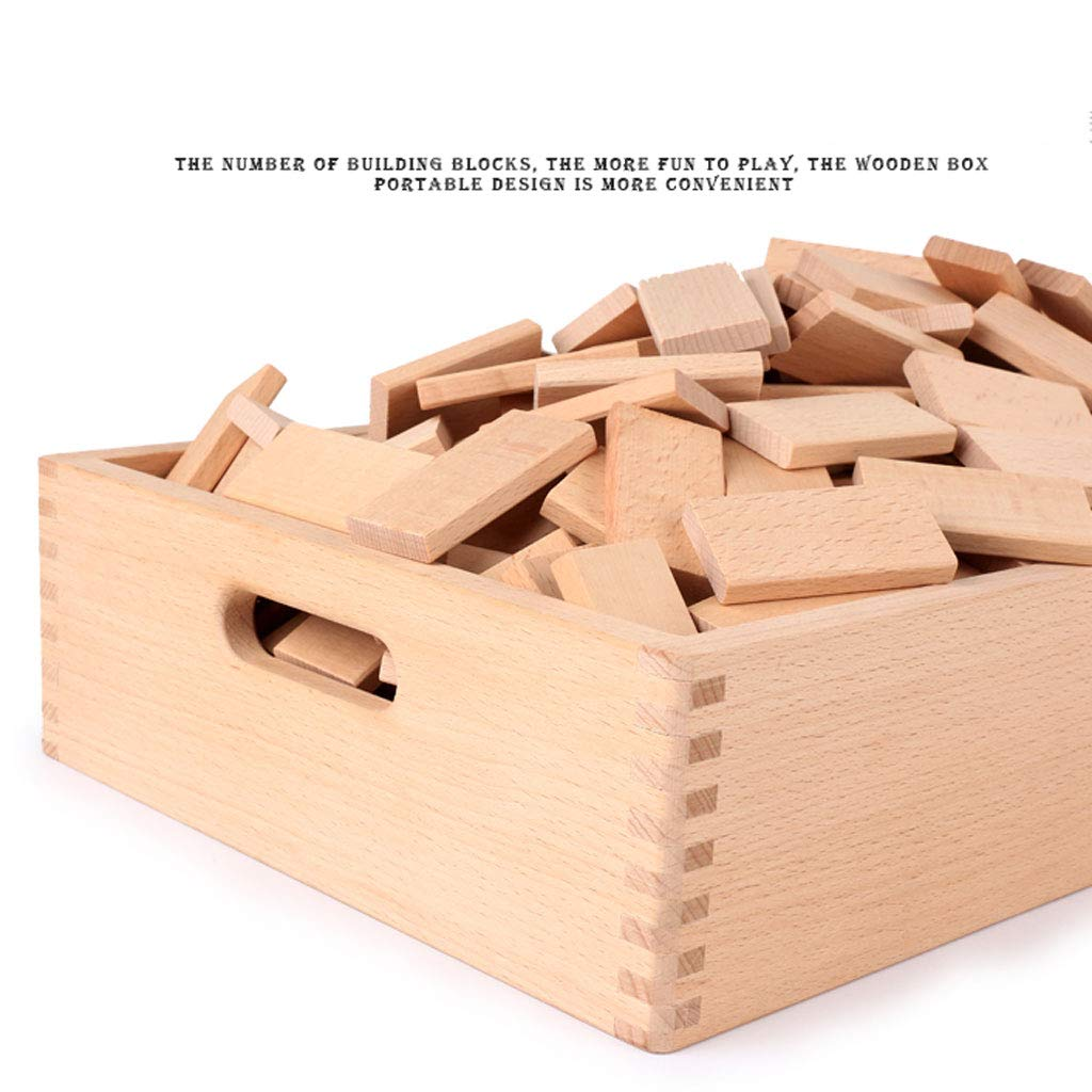 ZYN Children's Building Blocks Dominoes Creative Educational Toys Kindergarten Teaching Aids Beech Safe and Unpainted (Color : Wood Color (300 Pieces)) by ZYN (Image #4)
