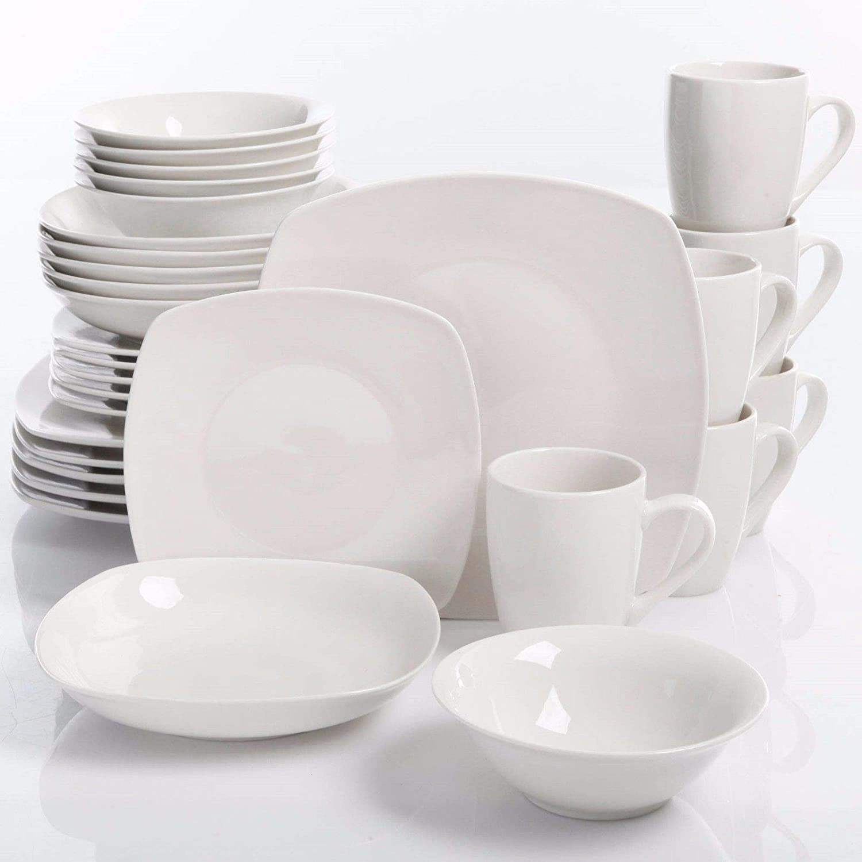 Amazon Com 30 Piece Porcelain Dinnerware Set Square Dinner Plates Dish Service For 6 White Dinnerware Sets