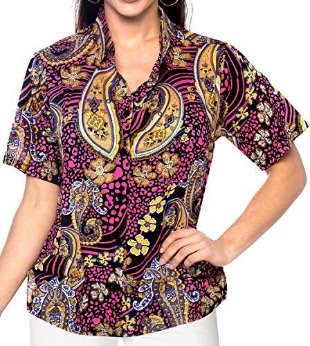 Camisa De Hawaiano Botn Manga x13 Parte Playa Vestir La Superior Mujeres Corta Encubrir Amarillo Blusa Las Abajo Seoras Del qBFEw5B