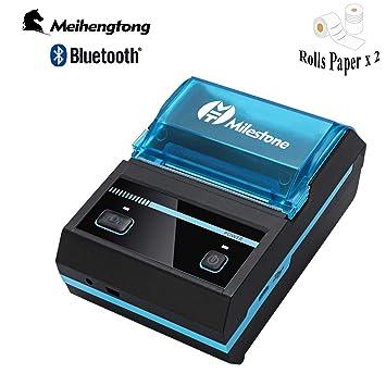 Impresora térmica Bluetooth con recibo térmico 58 mm Mini Impresora inalámbrica Impresora portátil MHT-P5801 Android iOS USB Solo se Puede Imprimir en ...