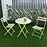 MD Group Patio Table Chair Set Metal Outdoor Folding Metal Portable Lawn Garden Furniture