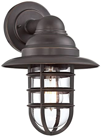 outdoor cage light vintage marlowe bronze 13 14quot hooded metal cage outdoor wall light 14