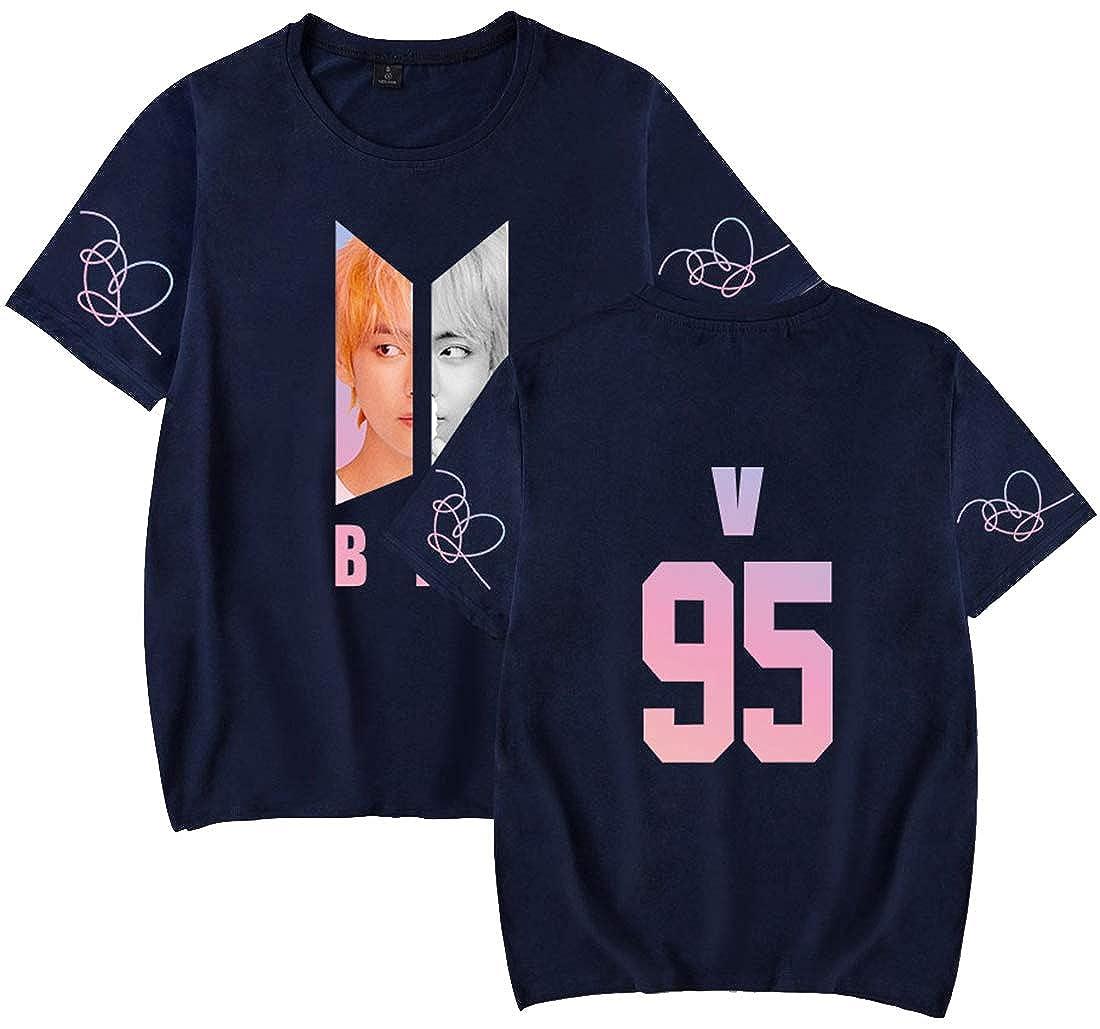 EMILYLE Femme T-Shirt de Sport BTS Kpop Membres Portrait Haut Bangtan Boys Love Yourself Jimin V Jung Kook Suga Jin RM J-Hope