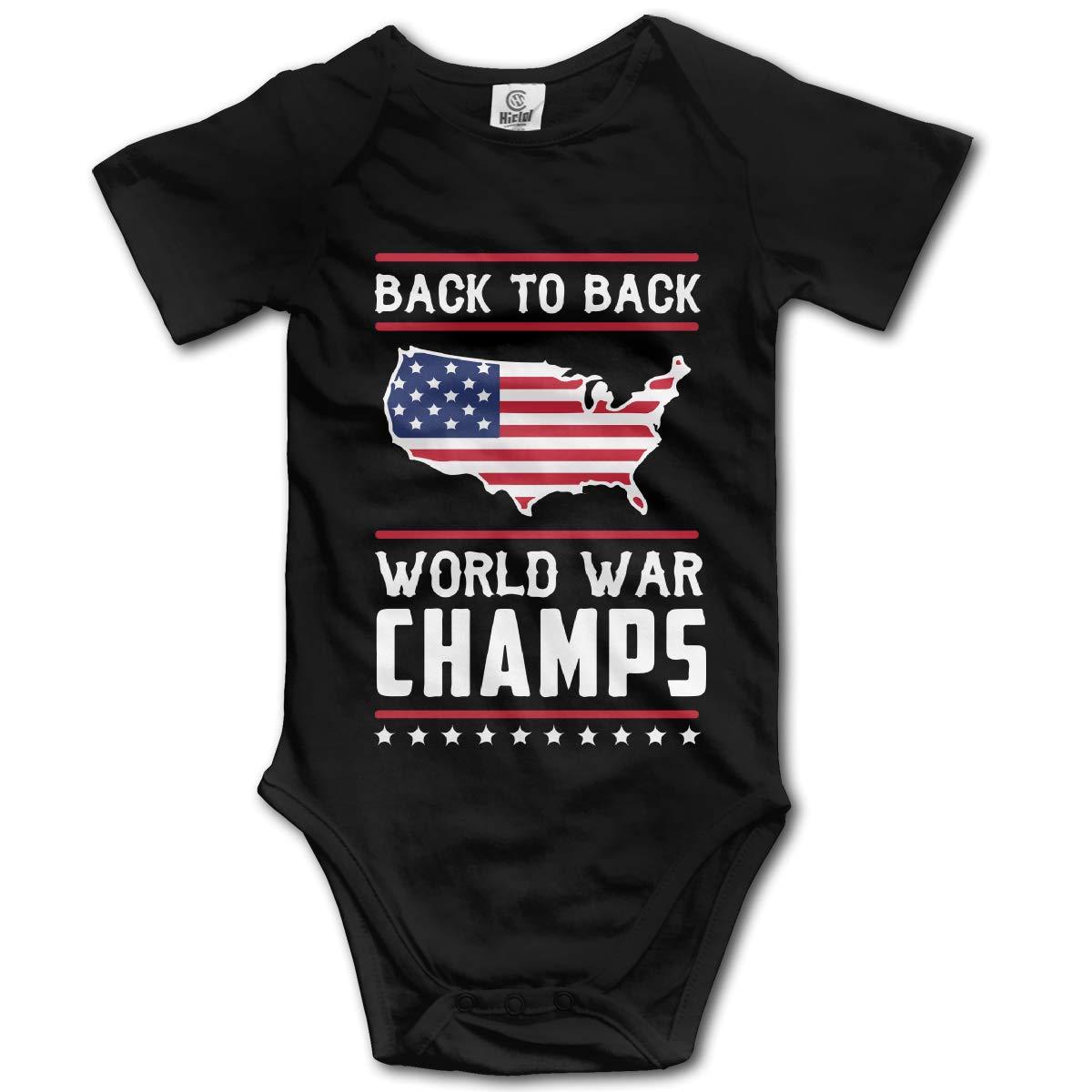 Back-to-Back World War Champs Baby Unisex Short Sleeve Romper Bodysuit Tops 0-24M