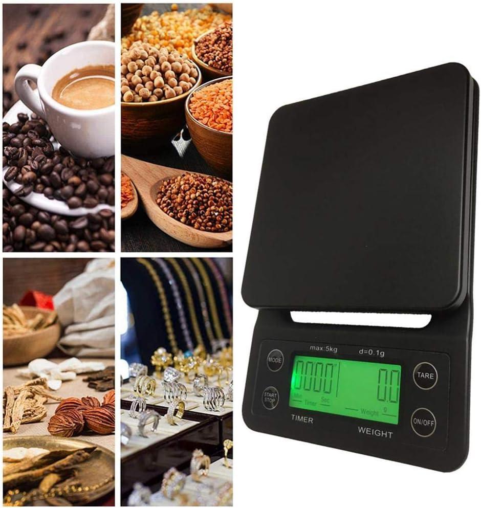 VUBD Básculas de Cocina, báscula electrónica Digital LCD para café por Goteo con Temporizador, Negro, Cocina, Hornear, café, balanza de Peso, Temporizador, 5 kg 3kg