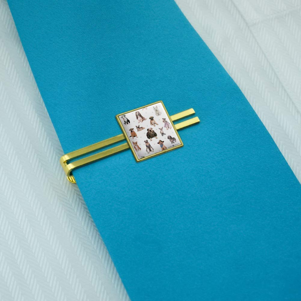 GRAPHICS /& MORE Cool Dogs in Outfits Paw Print Pattern Square Tie Bar Clip Clasp Tack Silver or Gold