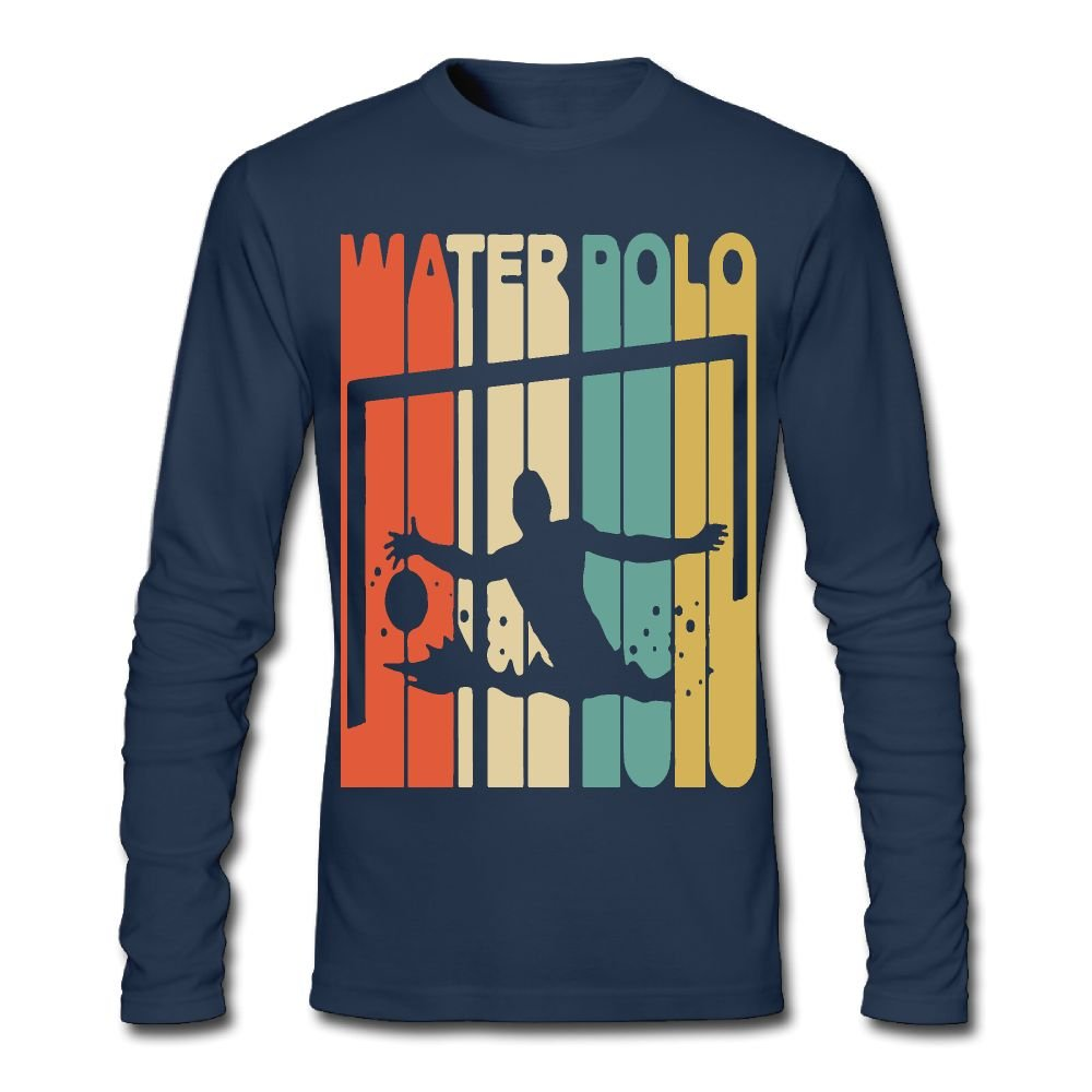 Mens Vintage Style Water Polo Silhouette Long-Sleeve Cotton Tee