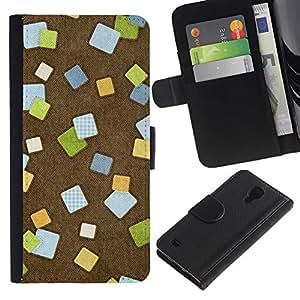 SAMSUNG Galaxy S4 IV / i9500 / SGH-i337 Modelo colorido cuero carpeta tirón caso cubierta piel Holster Funda protección - Abstract Checkered Tiles Brown Office