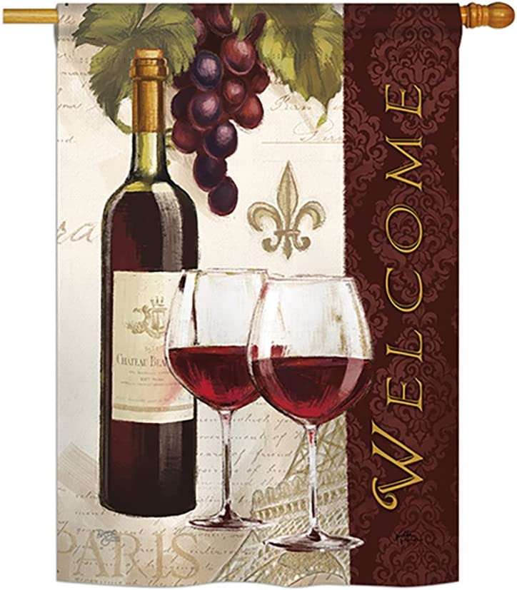 """Breeze Decor H117053 Welcome Happy Hour & Drinks Wine Decorative Vertical House Flag, 28"""" x 40"""", Multicolor"""