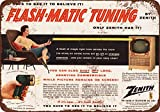 "9"" x 12"" Metal Sign - 1955 Zenith Flash-Matic Tuning First Television Remote Control - Vintage Look Reproduction"