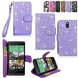 HTC Desire 610 Case - Cellularvilla Pu Leather Wallet Card Flip Open Pocket Case Cover Pouch for HTC Desire 610 (Purple Glitter)