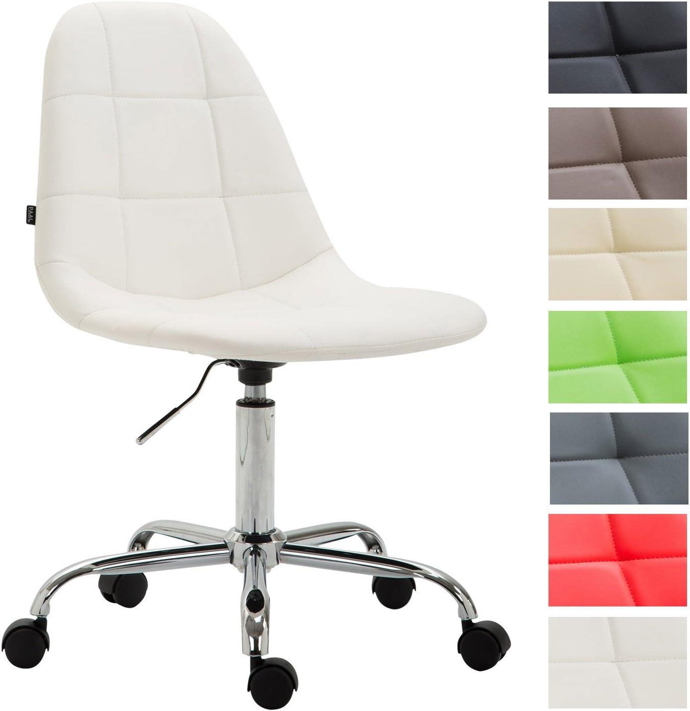 CLP Silla De Oficina Moderna Reims Tapizado En Cuero PU I Silla De Escritorio con Respaldo I Silla De Ordenador con Ruedas I Color: Blanco