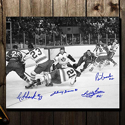 Johnny Bower, Eddie Shack, Bobby Baun & Brian Conacher Toronto Maple Leafs vs. Montreal 1967 Stanley Cup Finals Autographed 11x14 ()