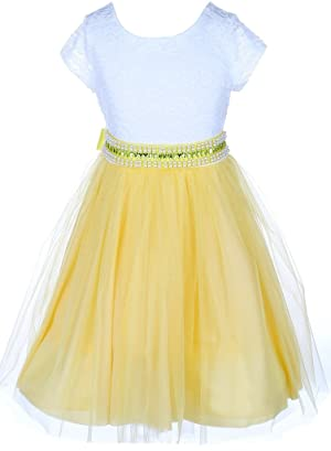 Little Girls Lace Top Rhinestone Pearl Special Party Flower Girl Dress Yellow 2 (J20KS45)