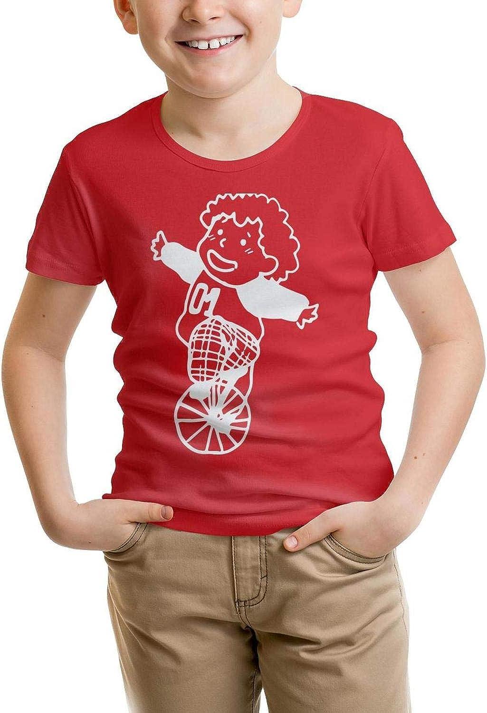 absolutemi Riding a Single Wheelbarrow 100/% CottonTee Crew Neck forBoys Shirt Lovely Parttern