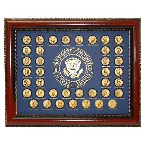Complete Uncirculated Golden Presidential Dollar Coin set with Collector's Display Frame 2007-2016