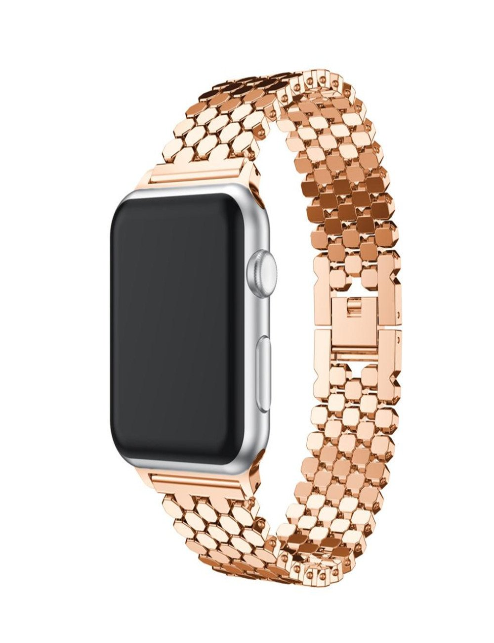 Dreaman Elegant Stainless Steel Watch Band Replacement Strap for iwatch Watch 38MM (Rose gold)