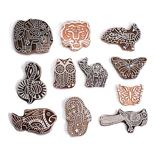 Hashcart Printing Stamps Animal Design Wooden Blocks (Set of 11) Hand-Carved for Saree Border Making Pottery Crafts Textile Printing