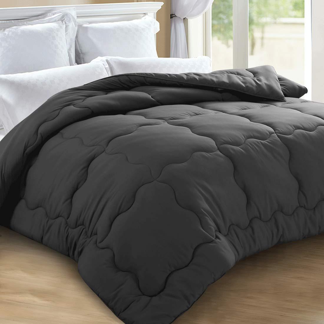 KARRISM All Season Down Alternative Queen Comforter, Winter Warm Ultra Soft Quilted Duvet Insert with Corner Tabs, Wavy Box Stitched, Hypoallergenic, Luxury Hotel Collection (Grey, 88 x 88 inch)